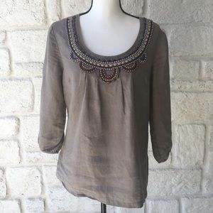 Boden Taupe Beaded Linen Blouse / Size 14